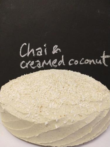 Vanilla chai and creamed coconut cake