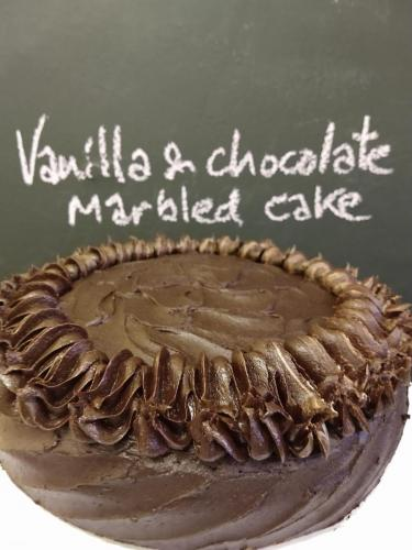 Vanilla and chocolate marbled cake