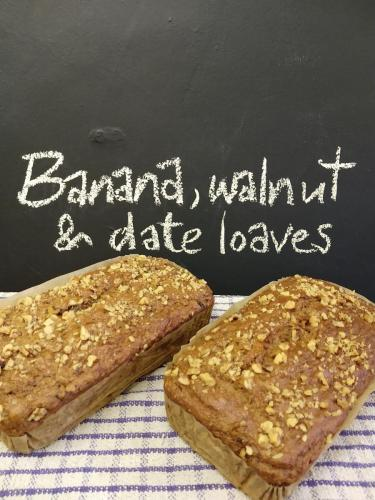 Banana walnut and date loaves