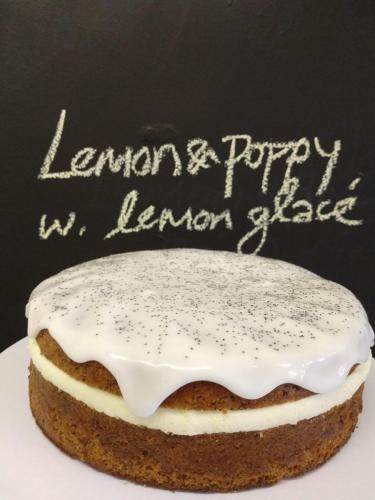 Lemon and poppy seed cake with lemon glacé