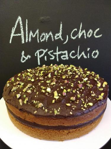 Almond chocolate and pistachio cake